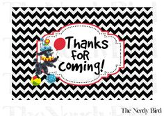 Black and White Chevron Circus Red Yellow Blue and Green Thank You Card by TheNerdyBird1, $5.00
