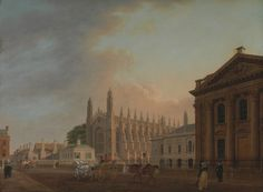 Thomas Malton the Younger, 1748–1804, British, King's Parade, Cambridge, between 1798 and 1799, Oil on canvas, Yale Center for British Art, Paul Mellon Collection