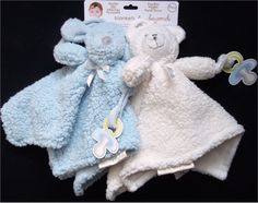 New 2 Blankets & Beyond Nunu Blue Puppy Dog Ivory Cream Bear Baby Boy Blanket #BlanketsBeyond