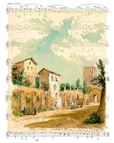 Porta San Sebastiano, Victorian Art, Sheet Music Art, Unique Gift, Estonia Art, Dorm Room, Dictionary Print, Home Decor, Giclee Print