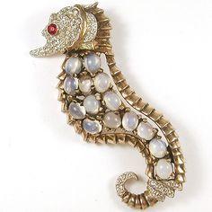 Reja Sterling Left Facing Opal Seahorse Pin