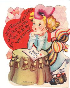 Vintage Valentine Card Old Fashioned Girl Watching and Hoping 2 Die Cut Child | eBay