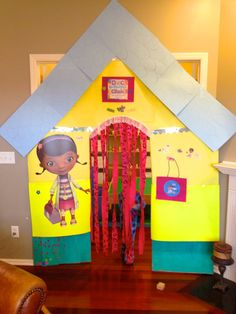 """Doc McStuffins clinic door for birthday party...change to any theme for the """"Birthday Room"""""""