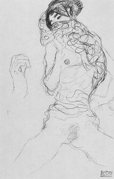 Drawings 2 / Halbakt mit teilweise verdecktem Gesicht und Handskizze, Studie für 'Die Braut' 1916. Gustav Klimt