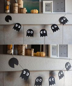 Easy Halloween Garland: Dress up your fireplace with this geek-inspired Halloween bunting. Pacman anyone?