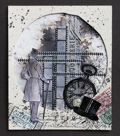Mixed-Media-Mittwoch, Hut /Hüte - No. 3 - Idee und Umsetzung Daniela Rogall, gestaltet mit #bistre #tape #motivstempel im #mixedmedia #stil / #art #tapeart Link zum Video https://www.youtube.com/watch?v=pBfw3JHJpAY