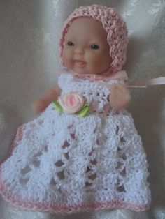 Easy Crochet Doll Clothes Patterns Free : Free Doll Dress Crochet Pattern for Berenguer Baby 5 Inch ...