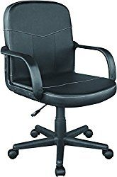 Comfort Products 60-2381 Bonded Leather Mid-Back Office Chair, Black