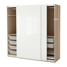IKEA - PAX, Wardrobe, 200x66x201 cm, soft closing damper, , 10-year Limited Warranty. Read about the terms in the Limited Warranty brochure.You can easily adapt this ready-made PAX/KOMPLEMENT combination to suit your needs and taste using the PAX planning tool.Sliding doors allow more room for furniture because they don't take any space to open.The soft-closing device catches the running doors so that they close slowly, silently and softly.If you want to organize inside you can complement…