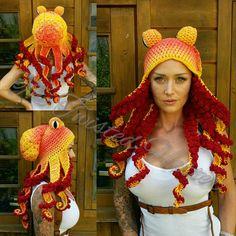Crochet sunrise octopus hat