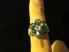 Swarovski Crystal Ring  dark blue over multigreen size 657 by jsdd, $10.00