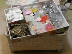 Handmade Jewelry box with removable tray! For your scrapbooking pieces!