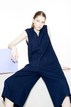Tibi Resort 2016 look 18. An easy denim jumpsuit with a culotte bottom simplifies weekend dressing for transitional temperatures.