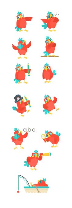 Parrot character design sheet ~ Hanimator 2015