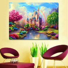 Rainbow Dream Castle Needlework Diamond Embroidery Full Rhinestone Diamond With Picture Home Decor Mosaic DIY Diamond Painting #Affiliate