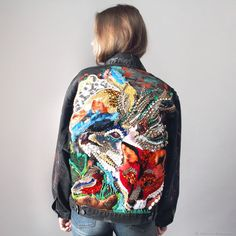 "Denim jacket with hand-embroidered ""the NORTH"" – shop online on Livemaster with shipping Uni Fashion, Boho Fashion, Fashion Outfits, Womens Fashion, Embroidered Denim Jacket, Embroidered Clothes, Painted Jeans, Painted Clothes, Textiles"