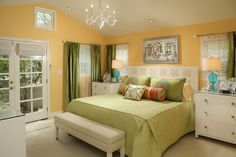 To keep a yellow room calm, use a complementary color like green.