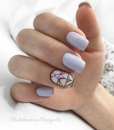 pastel nails with statement art deco pattern and pink gem - Ongles 02 Cute Nails, Pretty Nails, My Nails, Pastel Nails, Acrylic Nails, Art Deco Nails, Geometric Nail Art, Luxury Nails, Elegant Nails