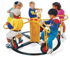 M&M Play Equipment RPE-5022 Circle Cycle 4 Seat by M&M Play Equipment. $1476.09. The area under the playground equipment must be covered with impact absorbing material.. 4-Seater.. Age 2.5-5 Years.. Warning: Do not install any playground equipment directly over paved surfaces such as concrete or. Patent Design.. Specially designed for indoor as well as playground use. Requires little space and is great for limited play spaces. It is an ideal choice for strengthening large musc...