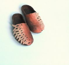 Women  felted wool slippers  brown and beige slippers by AgnesFelt, $65.00