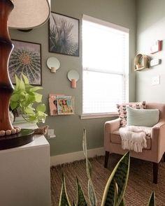 Affordable & Inspiring Ideas For Office Decor | Clare Green Home Offices, Home Office Space, Home Office Decor, Home Office Paint Ideas, Office Ideas, Light Green Walls, Sage Green Walls, Green Accent Walls, Sage Living Room