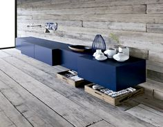 12TOP-50-MODERN-SIDEBOARDS-Floating-modern-navy-cabinet-and-grey-rustic-wood-ship-lap-walls 12TOP-50-MODERN-SIDEBOARDS-Floating-modern-navy-cabinet-and-grey-rustic-wood-ship-lap-walls