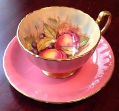 Aynsley Handpainted Orchard Fruit Gilded Tea Cup and Saucer Signed D Jones