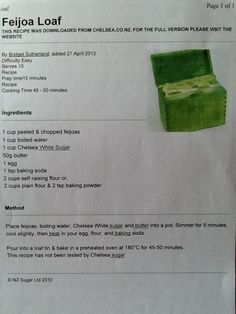 Feijoa Loaf Cooking Time, Cake Recipes, Snacks, Cakes, Food, Dump Cake Recipes, Recipes For Cakes, Kuchen, Meals
