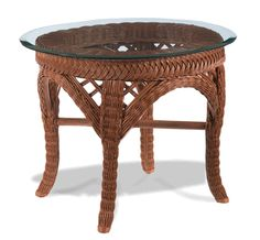 Lanai Brown Wicker End Table The Lanai Oval Wicker End Table With Glass Is  A Premium Round Core Wicker Woven Table On A Sturdy Rattan Frame.