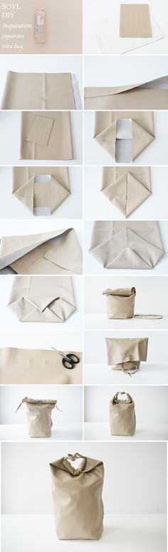 DIY Bag Kenya Hara inspired Japanese rice packaging Out of leather? Diy Projects To Try, Sewing Projects, Rice Packaging, Diy Sac, Japanese Rice, Japanese Bags, Leather Craft, Recycled Leather, Diy Fashion