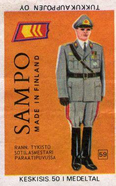 #Tulitikku Oy #Tulitikkuetiketti #Sampo #Tukkukauppojen Oy #Made in Finland #Rannikkotykistön sotilasmestari paraatipuvussa #Sotilaat #Sotilaspuvut #Univormut #Rnnikkotykistö #Arvomerkit #Sotilaat #Tändstickor #Tändsticksask #Etikett #Soldaten #Uniform #Kustartilleri #Parad #Label #Safe matches #Soldier #Coastal artillery #Chief warrant officer Full dress uniform Finland, Baseball Cards, Sports, Movies, Movie Posters, Soldiers, Hs Sports, Films, Film Poster