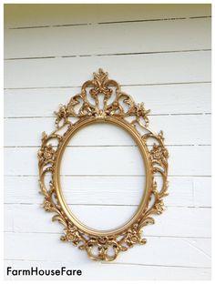 Wedding Photo Prop ORNATE FRAME Gold Baroque Oval by FarmHouseFare