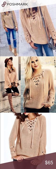ALIA solid sweater tunic top - BLUSH solid sweater tunic with criss cross self-tying strap.   PLS NOTE SLEEVE LENGTH WILL VARY DEPENDING ON EACH PERSONS HEIGHT & ARM LENGTH     NO TRADE   PRICE FIRM Bellanblue Tops Tees - Long Sleeve