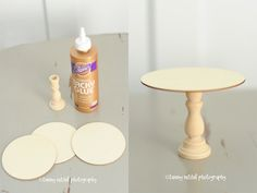 DIY a mini cake stand (or a cupcake stand).  Perfect size for a doll.    Used mini wood candlesticks and pre-cut wood circles (both available at michaels) and strong glue (like e6000) and paint