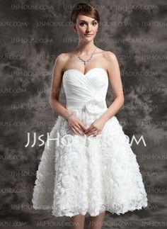 Wedding Dresses - $162.69 - A-Line/Princess Sweetheart Knee-Length Satin Wedding Dress With Ruffle Flower(s) Sequins (002015015) http://jjshouse.com/A-Line-Princess-Sweetheart-Knee-Length-Satin-Wedding-Dress-With-Ruffle-Flower-S-Sequins-002015015-g15015