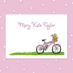A pink bicycle with a basket full of yellow flowers stands on this folded note stationery. Kids Stationery, Personalized Stationery, Pink Bike, How To Fold Notes, Yellow Daisies, Thank You Notes, Cool Fonts, Cute Pink, Kid Names