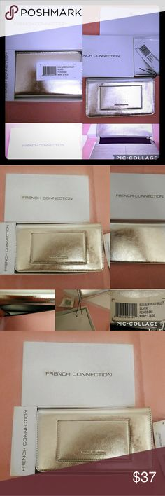 🆕🏷️ IB French Connection silver clutch wallet BNIB French Connection silver clutch / slim bifold wallet retails for $78. Ftont exterior has French Connection pressed into slip pocket. Great for easy access to CC / ID or cash. Interior is silver & black & has snap closure, 8 CC / ID card holders, large slip pocket behind that, other side has large zippered pouch great for cash, change ECT it comes in its original white box with French Connection in black on front and also interior where…