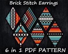 Beaded Earrings Patterns, Seed Bead Patterns, Beading Patterns, Pdf Patterns, Seed Bead Jewelry, Seed Bead Earrings, Etsy Earrings, Seed Beads, Feather Earrings