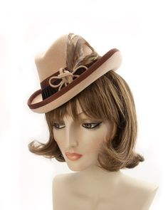 Vintage-Style Perching Homburg. Ivory Peach 1940s Tilt Hat. Ladies Fedora. Cream Fur Felt Percher with Coque Feathers. Brown '40s Trilby Hat Scarf Display, Coque Feathers, Vintage Style, Vintage Fashion, Homburg, Flapper Hat, Hat Blocks, Trilby Hat, Felt Hat