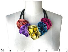 Colorful Leather Flower Necklace Leather Flower by ManoBello