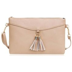 Tassels Faux Leather Crossbody Bag (€8,16) ❤ liked on Polyvore featuring bags, handbags, shoulder bags, rosegal, pink purse, faux leather crossbody purse, pink crossbody purse, faux leather shoulder bag and vegan handbags