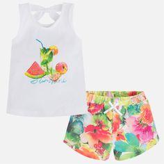 Short de niña floral camiseta manga sisa con print Lima