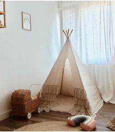 Nasze lniane boho tipi w pięknym wnętrzu u 😍 Teepee Tent, Boho Room, Boho Nursery, Kids Decor, Home Decor, Kidsroom, Hanging Chair, Toddler Bed, Rainbow