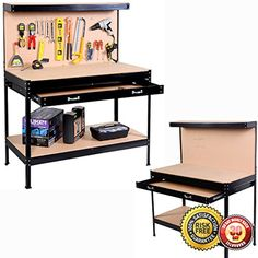 New Work Bench Tool Storage Steel Frame Tool Workshop Table W/ Drawers and Peg Board Black -- Awesome products selected by Anna Churchill
