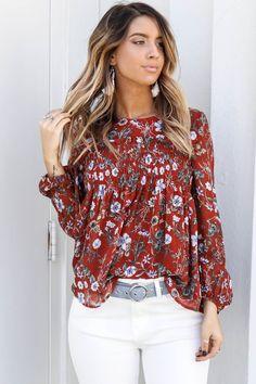 0de358b60e95 Meet Me Downtown Rust Long Sleeve Floral Print Top New Fashion Trends