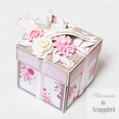 CraftHobby Oliwiaen: I Komunia / First Communion Memories Box, Diy Exploding Box, Organizer Box, Scrapbook Box, Handmade Wedding Favours, Pop Up Box Cards, Magic Box, Pretty Box, Craft Bags