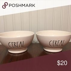 "Rae Dunn ""Cereal"" Bowls - Set of 2 Rae Dunn ""Cereal"" Bowls - Set of 2 $20 - BRAND NEW!! Not accepting other offers - sorry!! Rae Dunn Other"