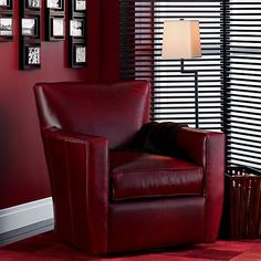 Dune Swivel Lounge Chair With Sunbrella ® Cushions. Red Leather ...