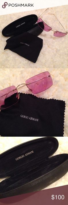 Giorgio Armani sunglasses Pink and gold sunglasses. Will ship in its original case (has scratches) and cloth. Accessories Sunglasses