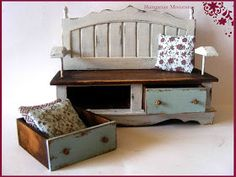 My tiny world: Dollhouse miniatures: Bench variations
